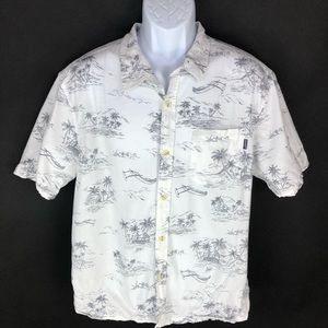 O'neill Men's White Button Hawaiian Shirt XL